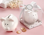 """Li'l Saver Favor"" Ceramic Mini-Piggy Bank in Gift Box with Polka-Dot Bow wedding favors"