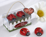 """Love Bug"" Ladybug Magnets wedding favors"