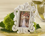 """White Baroque"" Elegant Place Card Holder/Photo Frame wedding favors"
