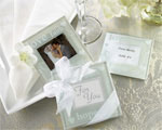 """Good Wishes"" Pearlized Photo Coasters wedding favors"