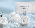 """Snow Flurry"" Flocked Glass Ornament Place Card/Photo Holder wedding favors"