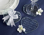 """Good Wishes"" Heart Glass Coasters wedding favors"