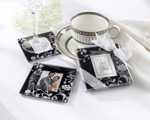 """Timeless Traditions"" Elegant Black & White Glass Photo Coasters wedding favors"
