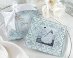 """Fleur-de-Lis"" Frosted-Glass Photo Coasters wedding favors"