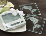 """Calla Lilies"" Frosted-Glass Coasters in Floral-Inspired Gift Box wedding favors"