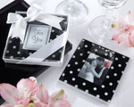 """Mod Dots"" Black and White Polka Dot Photo Coaster wedding favors"