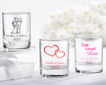 Personalized Shot Glass/ Votive Holder with over 40 Design Choices wedding favors