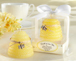 """Sweet As Can Bee"" Honey-Scented Beehive Candle wedding favors"