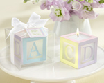 """B is for Baby"" Lettered Baby Block Candle wedding favors"