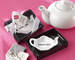 """Swee-Tea"" Ceramic Tea-Bag Caddy in Black & White Serving-Tray Gift Box wedding favors"