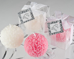 Rose Ball Candle in Gift Box with Matching Bow and Tag wedding favors