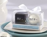 """Mr. & Mrs."" Ceramic Salt & Pepper Shakers wedding favors"