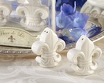 """Fleur-de-Lis"" Ceramic Salt & Pepper Shakers wedding favors"
