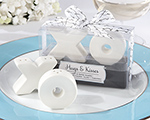 """Hugs & Kisses"" Ceramic Salt & Pepper Shakers wedding favors"