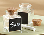"""Chalkboard"" Glass and Cork Favor Jars (Set of 12) wedding favors"