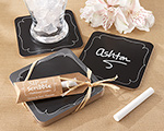 """Sip and Scribble"" Chalkboard Set of 4 Coasters wedding favors"