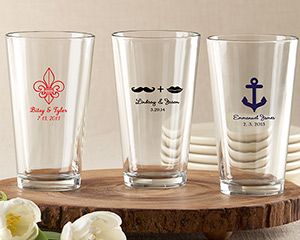 Personalized Pint Glass 16 oz. wedding favors