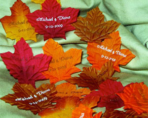 Personalized Fall Leaf Petals wedding favors