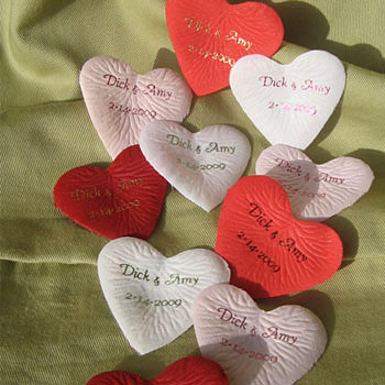 Personalized Heart Petals wedding favors