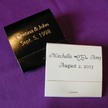 Traditional Personalized Matches wedding favors