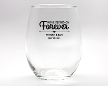 Forever Personalized Stemless Wine Glasses - 15 oz wedding favors