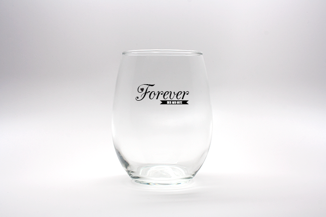 Forever Heart Personalized Stemless Wine Glasses - 15 oz wedding favors