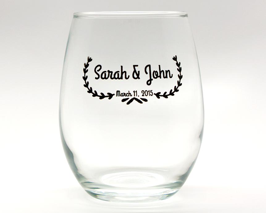 Leaf Banner Personalized Stemless Wine Glasses - 15 oz wedding favors