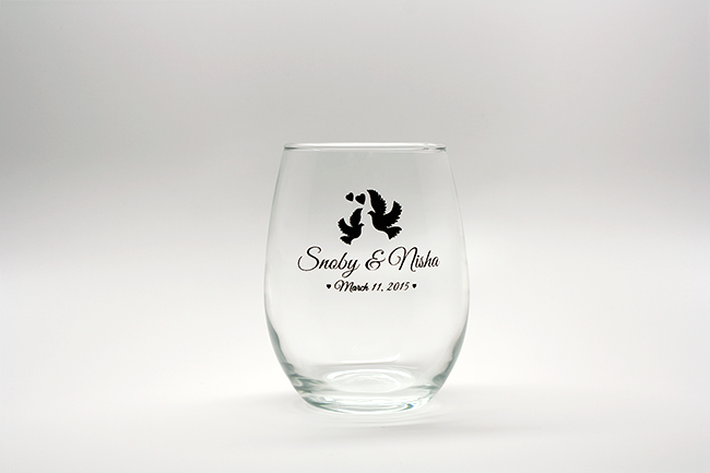 Doves Personalized Stemless Wine Glasses - 15 oz wedding favors