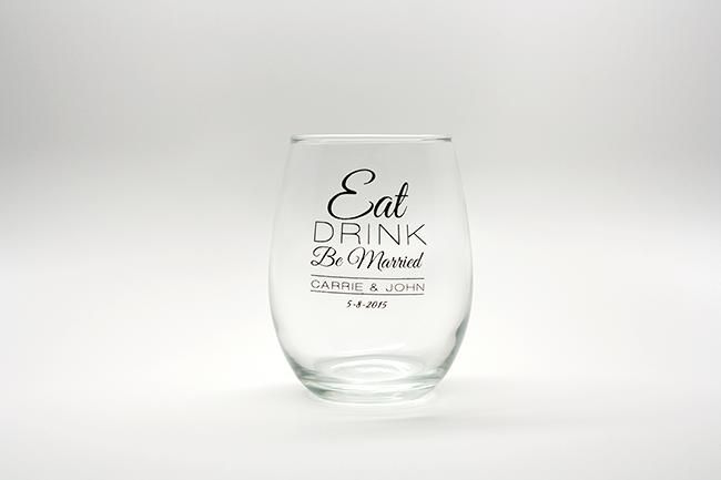 Eat, Drink, Be Married Personalized Stemless Wine Glasses - 15 oz wedding favors