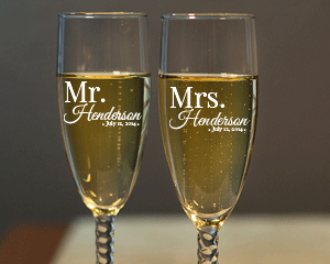Personalized Mr. and Mrs. Engraved Champagne Flute Set with Twisted Stem wedding favors
