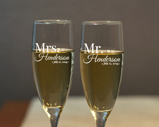Personalized Mr. and Mrs. Engraved Champagne Flute Set wedding favors