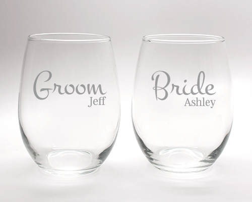 Engraved Bride and Groom Wine Glass Set - 15 oz wedding favors