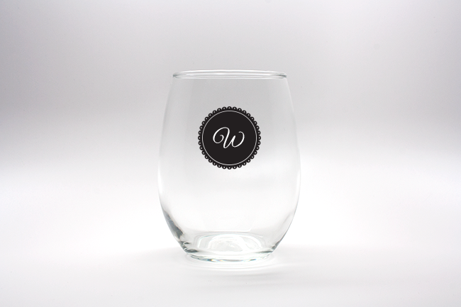 Doily Monogram Personalized Stemless Wine Glasses - 15 oz wedding favors
