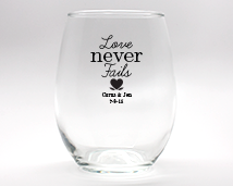 Love Never Fails with Heart Personalized Stemless Wine Glasses - 9 oz wedding favors