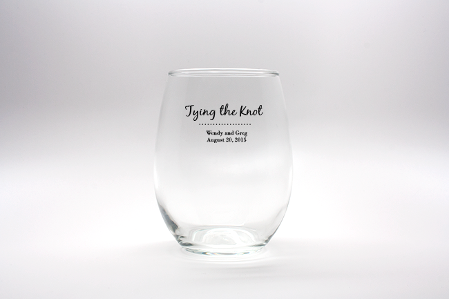 Tying The Knot Personalized Stemless Wine Glasses - 9 oz wedding favors