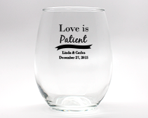 Love Is Patient Personalized Stemless Wine Glasses - 9 oz wedding favors