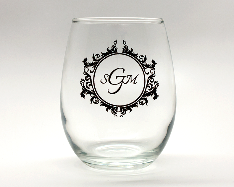 Vintage Monogram Personalized Stemless Wine Glasses - 15 oz wedding favors
