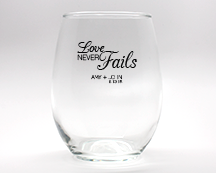 Love Never Fails Personalized Stemless Wine Glasses - 9 oz wedding favors