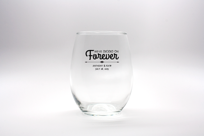 Forever Personalized Stemless Wine Glasses - 9 oz wedding favors