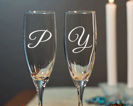 Personalized Engraved Monogram Champagne Flute wedding favors