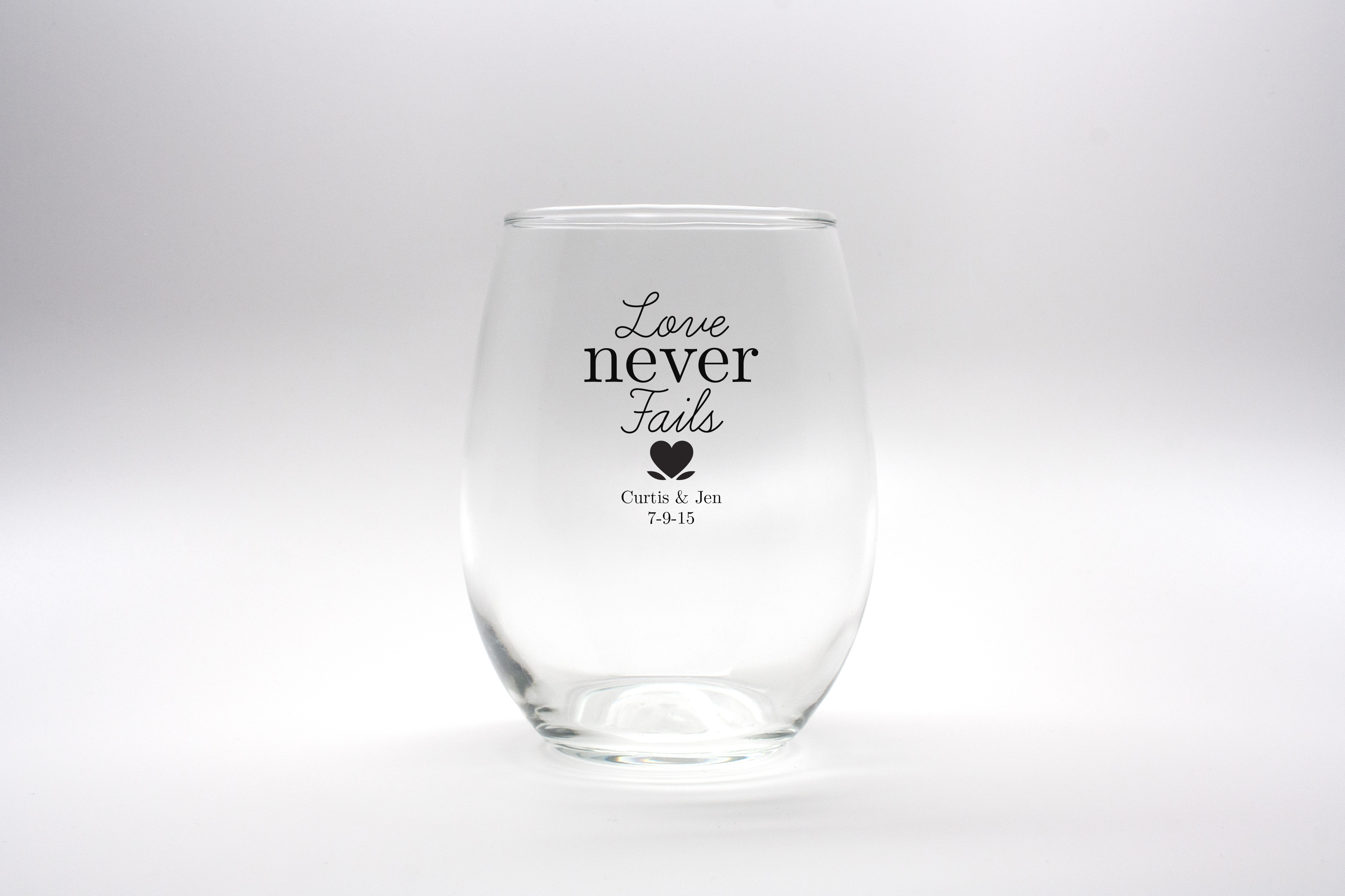 Personalized Stemless Wine Glasses - 15 oz wedding favors