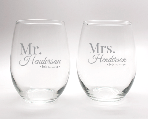 Engraved Mr. & Mrs. Stemless Wine Glass Set - 15 oz wedding favors
