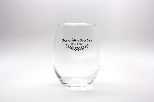 Two Is Better Than One Personalized Stemless Wine Glasses - 15 oz wedding favors