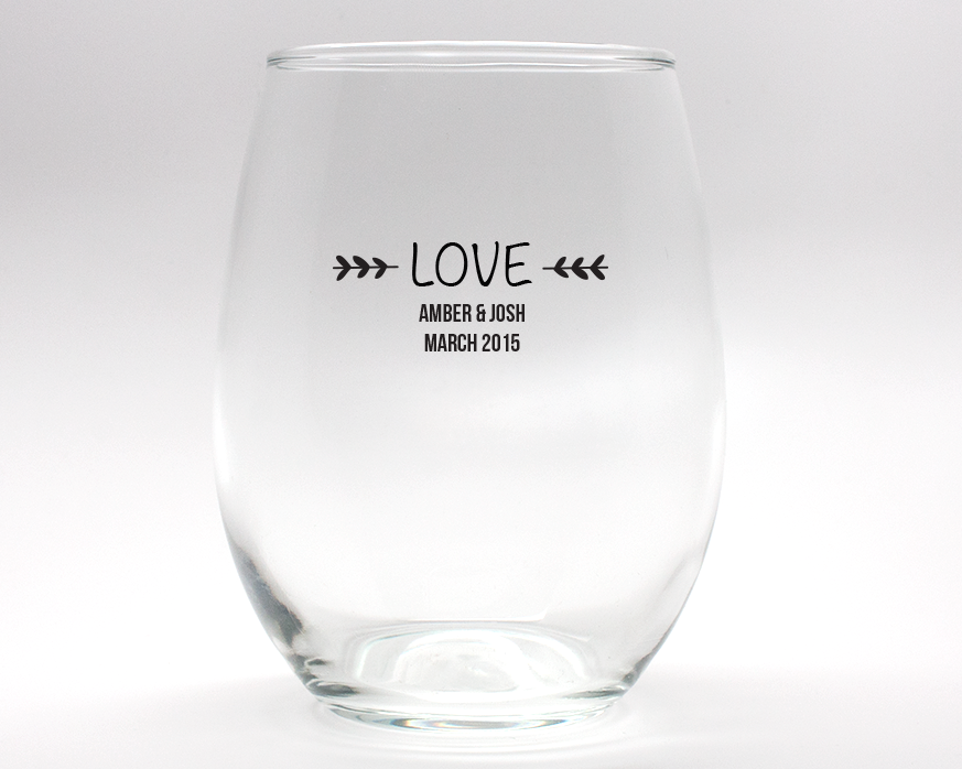 Love Personalized Stemless Wine Glasses - 15 oz wedding favors