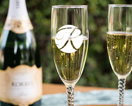 Personalized Engraved Outline Monogram Champagne Flute with Twisted Stem wedding favors