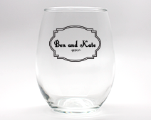Classic Personalized Stemless Wine Glasses - 15 oz wedding favors