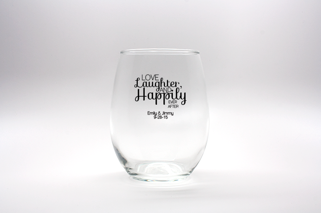 Love, Laughter, Happily Ever After Personalized Stemless Wine Glasses - 9 oz wedding favors