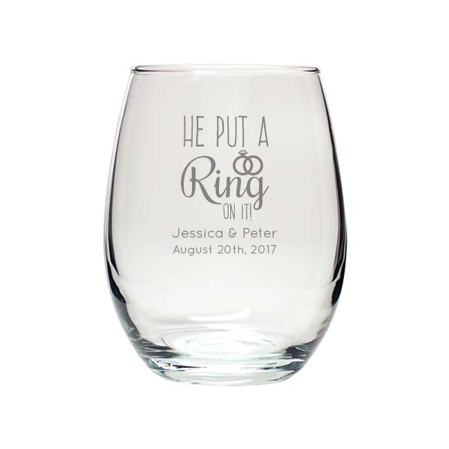 Engraved 9oz Stemless Wine Glass wedding favors