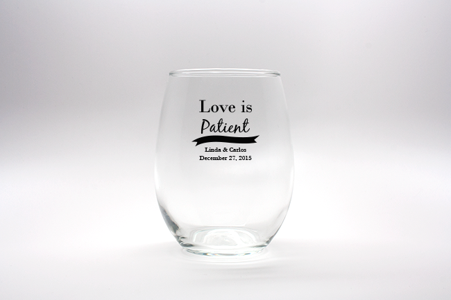 Love Is Patient Personalized Stemless Wine Glasses - 15 oz wedding favors