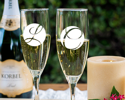 Personalized Engraved Outline Monogram Champagne Flute wedding favors